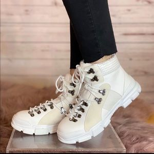 Chunky Sole Hiker Boots in White
